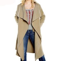 Wide Lapel Oversize Belted Women Long Trench Coat - $58.50