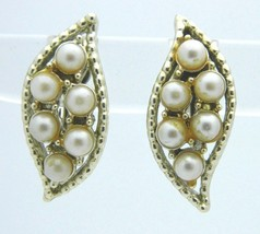 CORO Light Cream Faux Pearl Gold Tone Clip-On Earrings Vintage - $19.79
