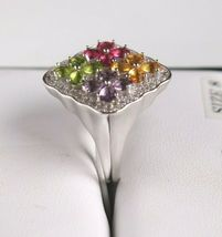Size 8 Sterling Silver Multi Flower Cubic Zirconia Cluster Ring New w Tags image 6