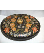 VntgToleware Painted Tulips Black Metal Oval Bed Foot Warmer Hot Water C... - $143.55
