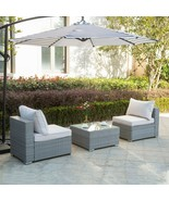 3PC Furniture Patio Outdoor Wicker Rattan Chair Sofa Set Garden Table Cu... - $259.97