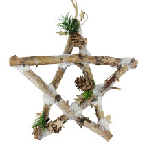 """9.75"""" Small Rustic Snowy Wood Branch Star Christmas Ornament - $25.95"""