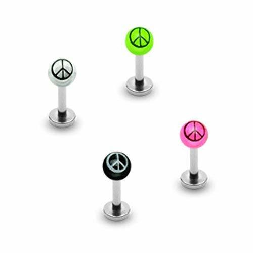 Primary image for 3mm Peace Sign Acrylic WildKlass Ball 316L Surgical Steel WildKlass Labret (Sold