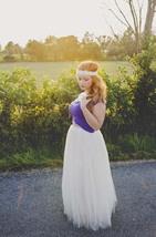 Plus Size Long Tulle Skirt Ivory Wedding Tulle Skirt 4-Layered Puffy Tutu image 5