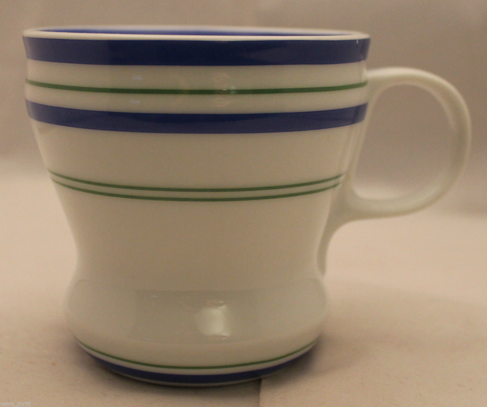 Primary image for Starbucks 2007 White Ceramic Coffee Tea Mug Cup With Green Blue Stripes 12oz