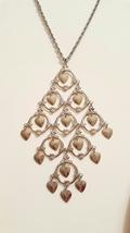 Cascading Hearts Vintage Bohemian Silver Tone Necklace - $20.00