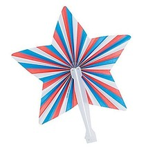 12 ~ Patriotic Star Folding Fans ~ Paper with Plastic Handle ~ Approx. 9... - $10.21