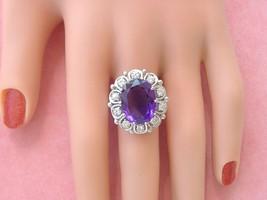 VINTAGE 7ct OVAL AMETHSYT .80ctw BRILLIANT DIAMOND WHITE 18K COCKTAIL RI... - $3,196.71
