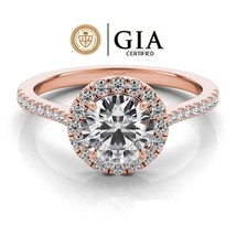 0.75 Carat GIA Certified Solitaire Halo Style Engagement Ring in 14K Ros... - $1,800.00