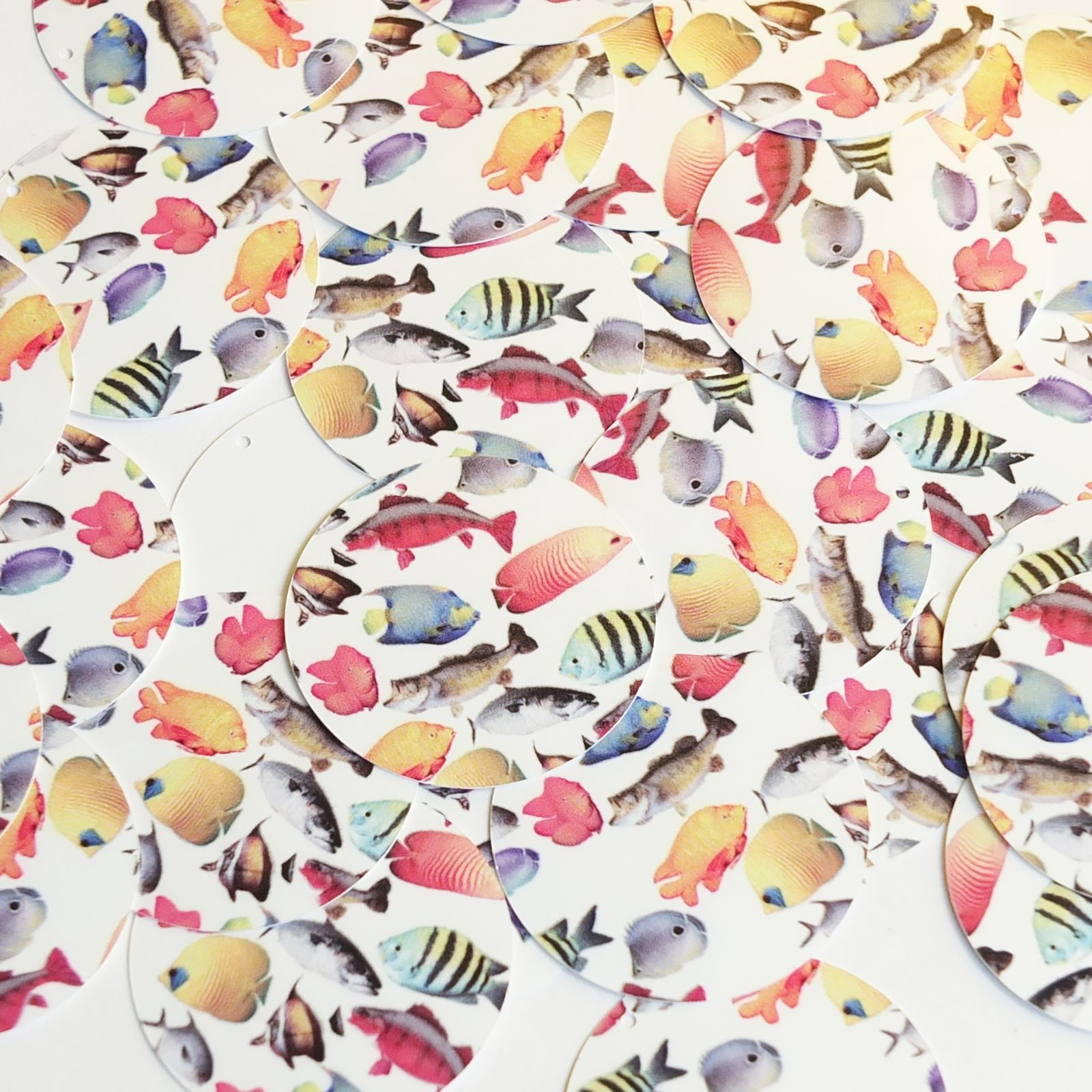 "Primary image for Round Sequin 1.5"" Multicolor Tropical Exotic Fish on White Opaque Paillettes"
