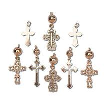 Bulk Buy: Darice DIY Crafts Cross Charms Assorted Metals and Sizes (3-Pa... - $9.89