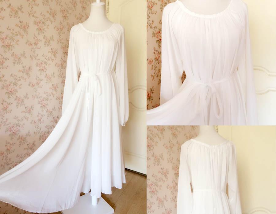 WHITE Chiffon Maxi Dress long sleeve Plus Size Maternity Dresses