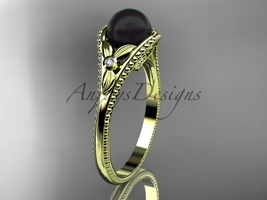Flower engagement ring 14k yellow gold tahitian black pearl bridal ring ... - $785.00