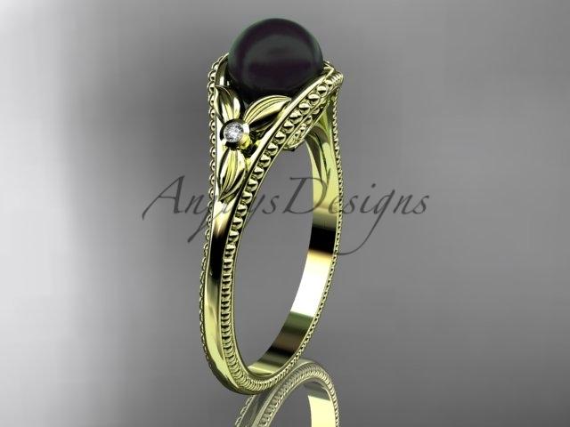 Abp377 yellow gold  tahitian black pearl   diamond wedding band  diamond engagement ring  1