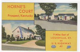 Horne's Court Motel Prospect Louisville Kentucky linen postcard - $6.44