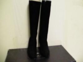 Donna Prada Milano Stivali Alti Al Ginocchio Camoscio Zip Nero Size 38 Europea - $419.73