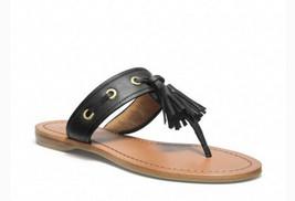 New Coach Sheena Women's Black Leather Tassel Flip Flops Sandals sz 9B Q1785 - $83.16