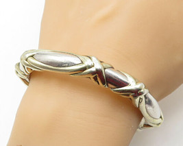 925 LA 925 Silver - Vintage 14K Two Tone Crossover Hollow Bangle Bracele... - $114.12