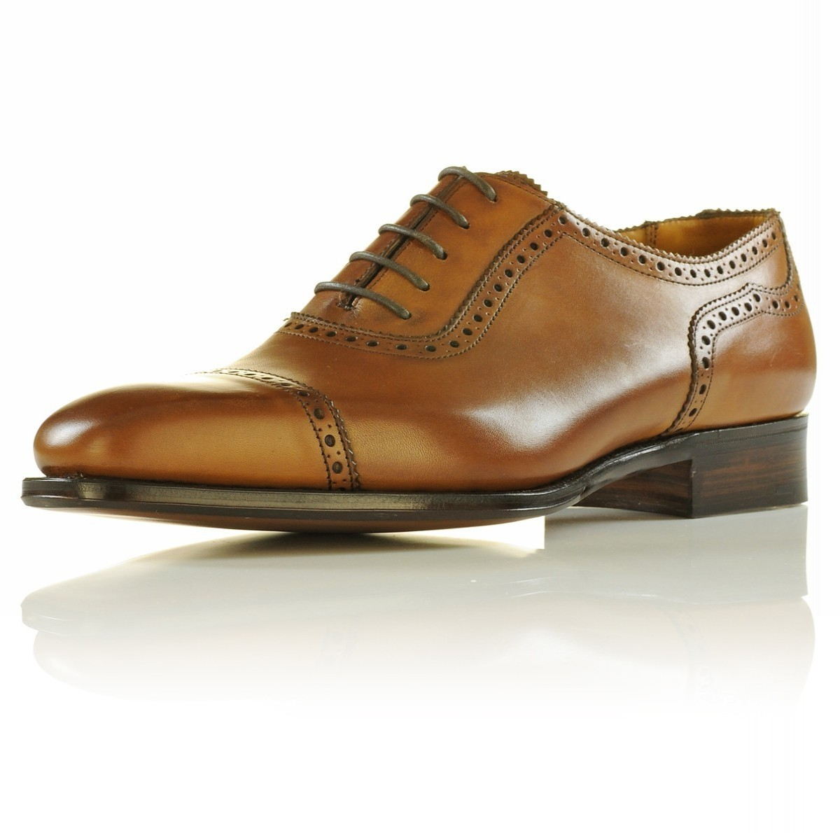 Handmade Men's Brown Leather Dress/Formal Oxford Shoes