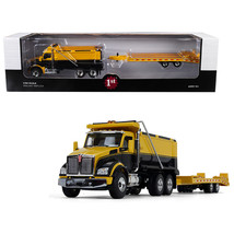 Kenworth T880 Tandem Axle Dump Truck with Beavertail Trailer Yellow/ Black 1/50  - $109.96