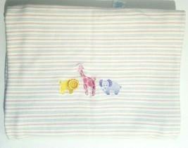 Gymboree Baby Blanket Safari Zoo Animals Stripes Beige Lavender Elephant 2002 - $38.79