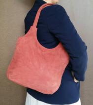 Suede Leather Tote, Soft Shoulder Bag, Handmade Purse w/ Tassel, Bony - $113.49