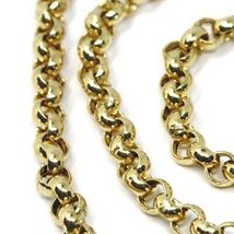 """18K YELLOW GOLD CHAIN 19.70"""" INCHES 50cm, BIG ROUND CIRCLE ROLO THICK 4 MM LINK image 5"""