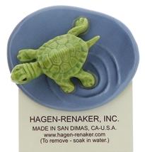 Hagen-Renaker Miniature Ceramic Turtle Figurine Green Mama Turtle on Pond