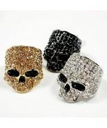 Skull Rings Rock Punk for Unisex Crystal Black Gold Biker Party Fashion ... - $9.99