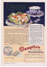 1926 Campfire Marshmallows Tin Salad & Dressing Recipes Print Ad - $9.99