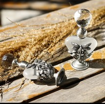 dragonfly vintage heart shape refillable metal glass perfume bottle - $21.78