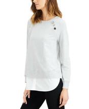 Calvin Klein Embellished Chiffon-Hem Top - $59.37
