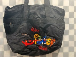 "Walt DISNEY World Black Embroidered Tote Beach Bag 19"" x 13"" - $22.27"
