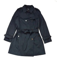 TALBOTS Black Military Industrial Officer Belt Duster Jacket Trench Pea Coat 10 - $29.69