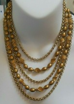 Vintage Trifari Multi-Layer Chain/Bead Runway Statement Necklace  - $64.35