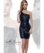Milano Formals E1606 Sequin Navy Mini One Shoulder Fitted Party Dress 14 - $96.03