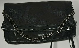Botkier Black Leather Convertible Foldover Crossbody Clutch Shoulder Bag - $150.00