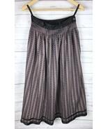 Vintage Lanz Originals Maxi Skirt Women's 10 Brown Black Striped Scandin... - $42.49