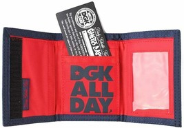 DGK Classic Nylon Tri-Fold Wallet Dirty Ghetto Kid Navy All Over Print NEW image 2