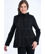 Neon Buddha Sassy Ruffle Jacket 6772 Black Medium Cotton/Spandex Knit St... - $68.31