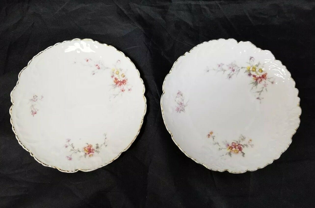 Vintage China Salad Plates: Set of 2, White Bread / Side Plates w Flowers, Gold image 7