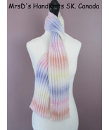 52 Inch Pastel Mix Striped Handknit Ribbed Scarf - $22.00