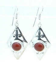VTG .925 Sterling Silver Carnelian Cabochon Open Work Shield Dangle Earrings - $49.50