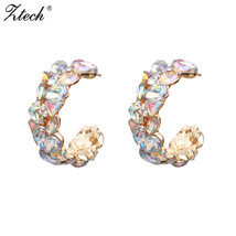 ZA AB Color Crystal Statement Wedding Stud Earrings Women Handmade Boho ... - $9.53
