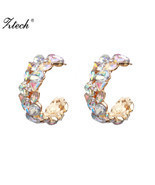ZA AB Color Crystal Statement Wedding Stud Earrings Women Handmade Boho ... - €7,95 EUR