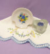 LINEN EMBROIDERY TEA TOWEL SHELL DISH AVON HEART CANDLE Lot of 3 - $12.22