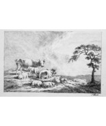 1801 ORIGINAL ETCHING Print by Howitt - Cows Sheep Resting on Hill - $30.60