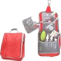 Portable Water-Resistant Toiletry Organizer Bag with Hanging Hook, Red - £6.81 GBP