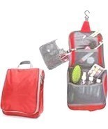 Portable Water-Resistant Toiletry Organizer Bag with Hanging Hook, Red - £6.74 GBP