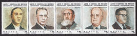 1982 Scientists Strip of 5 Mexico Postage Stamps Catalog 1297a Mint Never Hinged